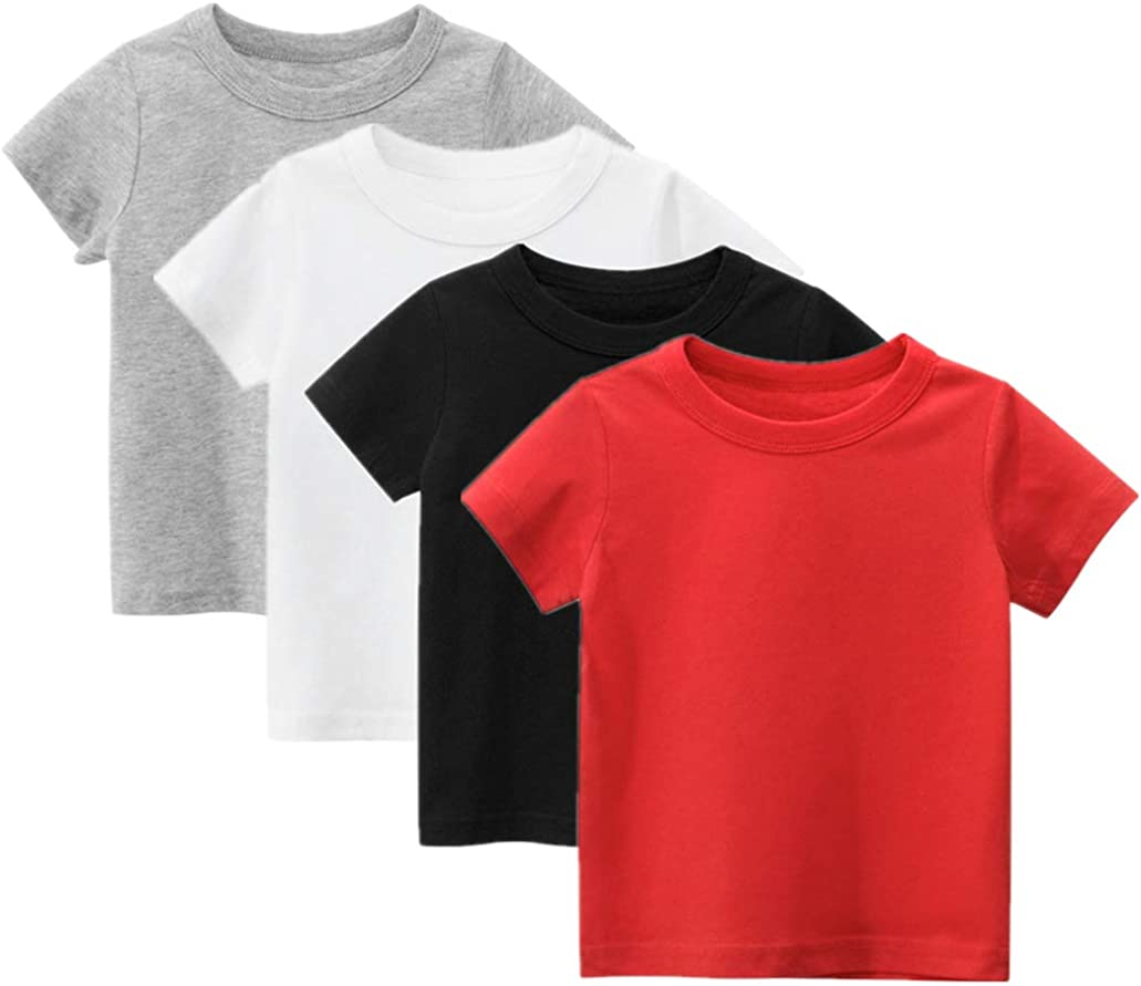 Herepai Boys' Short Sleeve T-Shirt Round Collar for Toddlers Childrens Kids Solid-Colored Clothes