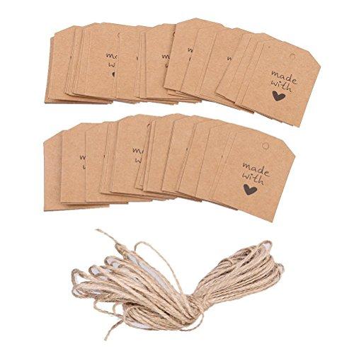 ULTNICE 100 piezas hechas con amor muestra papel de etiqueta de la etiqueta del regalo con guita para boda
