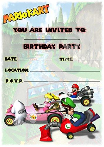 Super Mario Kart Verjaardagsfeestjes Uitnodigingen - Portret Ontwerp - Feestbenodigdheden/Accessoires (Pak van 12 A5 Uitnodigingen) WITHOUT Envelopes
