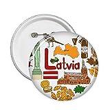 Latvia Love Heart Landscap National Flag Pins Badge Button Emblem Accessory Decoration 5pcs