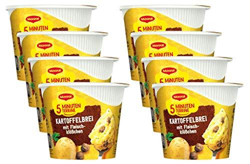 Maggi 5 Minuten Terrine Kartoffelbrei: Fleischklößchen, leckeres Fertiggericht mit Rindfleisch, Instant Kartoffel-Püree, Kartoffel-Snack, 8er Pack (8 x 46g)