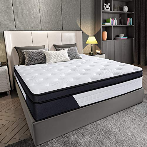 Homemaxs 10 Inch King Mattress King Size Memory Foam Mattress King with Silent Independent Pocket Spring System King Size Mattress Hybrid Mattress in a Box