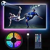 LED TV Beleuchtung, MustWin 5M RGBW Hintergrundbeleuchtung für 50-75 Zoll LED Strip mit RF-Ferbedienung USB Betreiben, Dimmbar 6 Modi 6000K Kaltweiß DIY mit Memoryfunktion für Deko Fernseher PC
