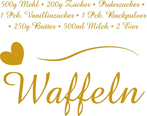 GrazDesign Muurtattoo Keuken Waffels Recept Kitchen Tattoo Keukensticker 38x30cm 820 Mustard