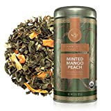 Teabloom Organic Green Tea, Minted Mango Peach Loose Leaf Tea, USDA Certified Organic, Fresh Whole Leaf Blend in Reusable Gift Canister, 3oz/85 g Canister Makes 35-50 Cups