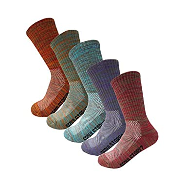 SEOULSTORY7 5Pack Women's Multi Performance Cushion Hiking/Outdoor Crew Socks Multicolor Small