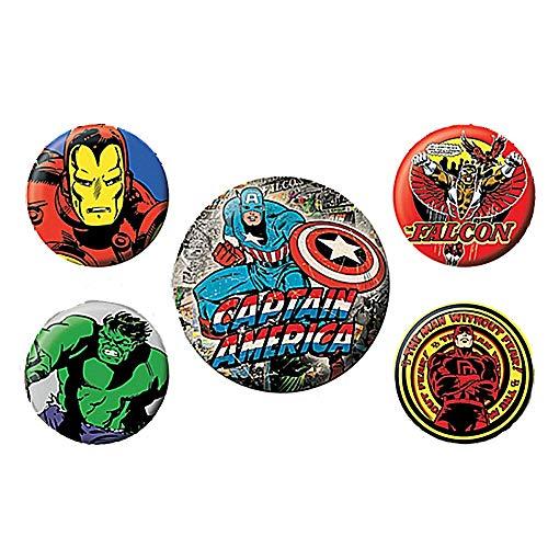 Echte Marvel Comics Captain America 5 Stück Abzeichen Set Falcon Hulk Iron Man