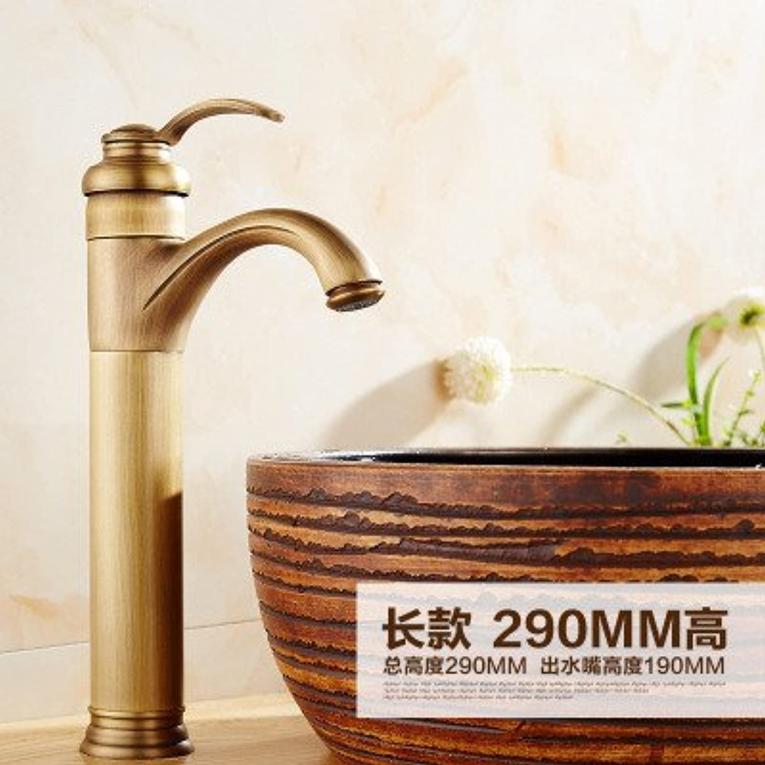 Hlluya Professional Sink Mixer Tap Kitchen Faucet The Antique copper hot and cold single hole basin mixer, High