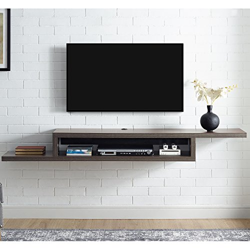 Martin Furniture Asymmetrical Floating Wall Mounted TV Console, 72inch, Skyline Walnut