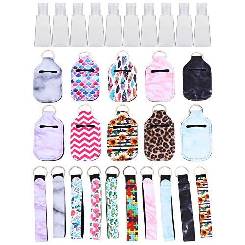Lurrose 30 Stücke Kunststoff Reiseflaschen Schlüsselanhänger mit Hülle und Lanyard Weihnachten Mitgebsel Flip Cap Flasche Leere Reisebehälter Nachfüllbare Duschgel Behälter für Shampoo Parfüm