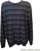 Marc Anthony Cotton Cashmere Merino Stripe Sweater, XXL, Navy