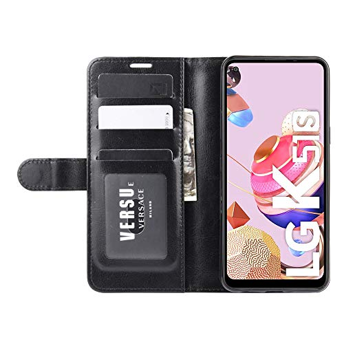 DAMAIJIA Funda Movil para LG K51S Carcasa Cuero PU Silicona Magnetic Wallet Protector Teléfono Flip Back Cover For K51S LG K41S K 51S K 41S 2020 Tapa con Soporte (Black)