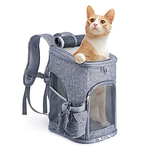 OSPet Trasportino da Viaggio per Cani e Gatti Zaino Pieghevole per Animali Domestici Grigio, dimensione 28*28*43cm Fino a 8 kg, ideale per i viaggi