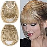 Pinza de pelo recto de 20 cm en flequillo flequillo Extensión del cabello Extensiones de flequillo frontal natural Postizo sintético grueso real para mujeres, ceniza rubia mezclar lejía rubia