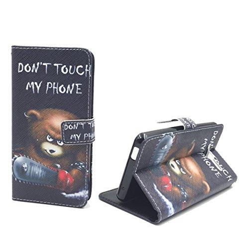 König Design Handyhülle Kompatibel mit ZTE Blade L3 Handytasche Schutzhülle Tasche Flip Hülle mit Kreditkartenfächern - Don't Touch My Phone Bär mit Kettensäge