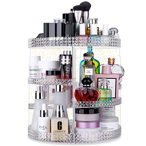 Awenia Makeup Organizer 360-Degree Rotating, Adjustable Makeup Storage, 7 Layers Large Capacity Cosmetic Storage Unit, Fits Different Types of Cosmetics and Accessories, Plus Size (Glitter)