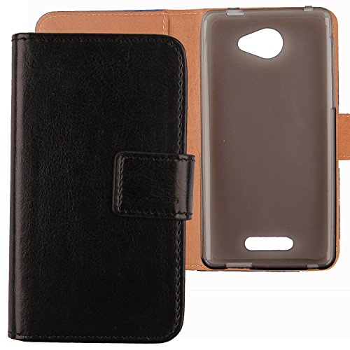 Gukas Flip PU Billetera Design para Alcatel One Touch Pop 4S 5.5' 5095K Funda De Carcasa Cartera De Cuero Case Cover Piel (Negro)