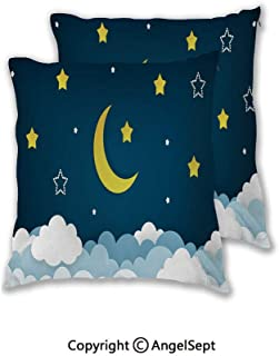 Set of 2 - Pillow Insert Decorative Throw Pillow Inserts,Half Moon,Stars And Clouds On The Dark Night Sky Background Paper Art Vector Illustration Illustration Variety Case Collection of Unique Beddin