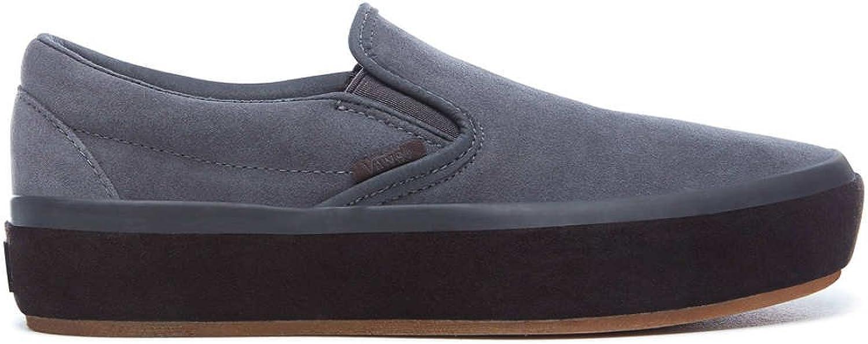 Vans Womens Asphalt Grey Classic Slip On Platform Sneakers