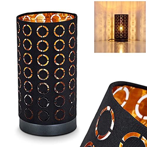 Licht-erlebnisse - Lampada da tavolo in legno e tessuto in grigio/cromo/argento, lampada moderna con motivo nel paralume, con interruttore on/off sul cavo e luce, 1 luce, 1 attacco E14, max. 40 Watt