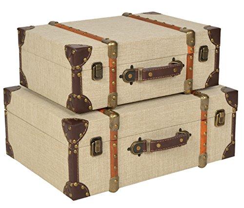 ts-ideen 2er Set Kisten Boxen Koffer Design Aufbewahrung Kunstleder Stoffbezug Nieten