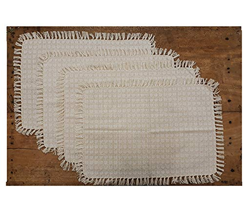 Set of 4 Placemats, Natural / Ivory Woven Fringed,100% Cotton, Size 13x19 Inch, Suitable for Formal Dining, Everyday Meals and Casual Occasions.