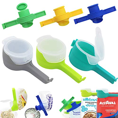 GZCGLN 6 PCS Bag Clips with SpoutBag Sealing Clips for FoodSeal Pour Food Storage Bag Clips for Kitchen Storage and Organization