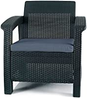 Keter Chair for Outdoor Seating with Washable Cushion-Perfect for Balcony, Deck, and Poolside Furniture Sets, 29.50 x...
