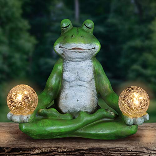 Exhart Solar Yoga Frog Holding 2 Glass Balls Garden Statue - Hand-Painted Resin Statue of a Green Frog in Cross-Legged Meditation Pose w/Solar LED Lights Glass Orbs, 11' Wide x 9' Inches Tall