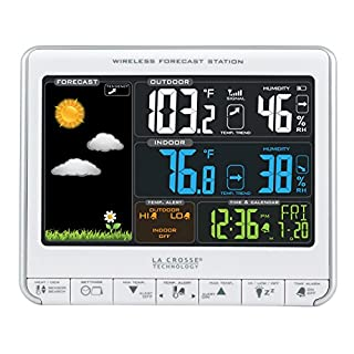 La Crosse Technology 308-1412S Color LCD Wireless Weather Station with USB Charging Port and Customizable Temperature Alerts, White (B00EOW9MKO) | Amazon price tracker / tracking, Amazon price history charts, Amazon price watches, Amazon price drop alerts
