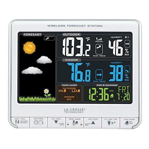 La Crosse Technology 308-1412S - Estación meteorológica inalámbrica LCD a Color con Puerto de Carga USB y alertas de Temperatura Personalizables