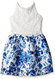 Amy Byer Girls' Big Fit and Flare Lace Bodice Party Dress, Pat A/Blue, 12