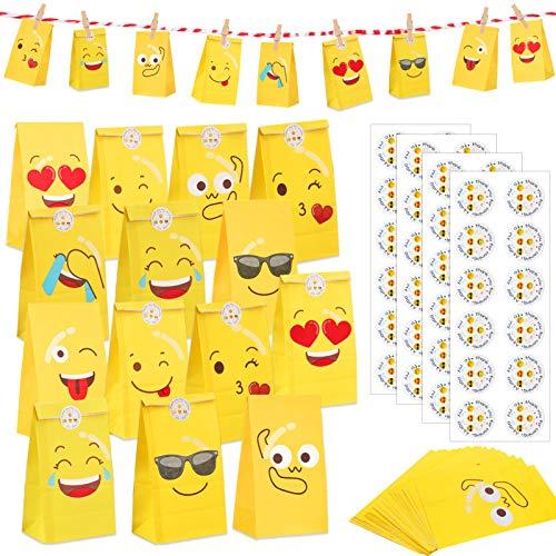 Sunshine smile Adventskalender Kraftpapier Set, 48 Stück DIY Adventskalender zum Befüllen Tüten Adventskalender mit Stickern zum Gestalten und selber Basteln Weihnachten