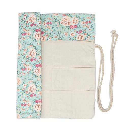 Knitting Needles Holder Case Rolling Organizer for Crochet Hooks Accessories (Sweet Floral)
