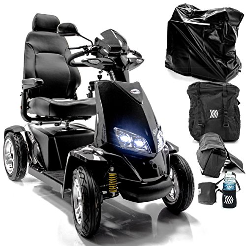 Silverado Extreme 4-Wheel Full Suspension Electric Mobility Scooter + Challenger Accessory Bundle