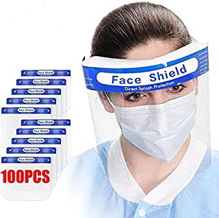 100Pcs Value Pack Premium Face Shield with Protective Clear Film To Protect Eyes and Face Full Face Shield With Elastic Band and Comfort Sponge Dental Face Shield For Adults