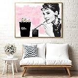 SNGTOW Pink Audrey Hepburn Arte de la Pared Lienzo Carteles de Moda Fumar Botella de Perfume Negra Palomitas de maíz Impresiones Pintura Cuadros de la Pared Decoración del hogar | 50x70cm Sin Marco