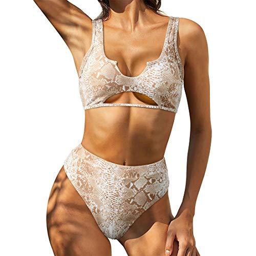 RUUHEE Damen-Bikini mit Cutout, frech, hohe Taille, Batikfärbung, sportlich, zweiteilig - Grau - Large