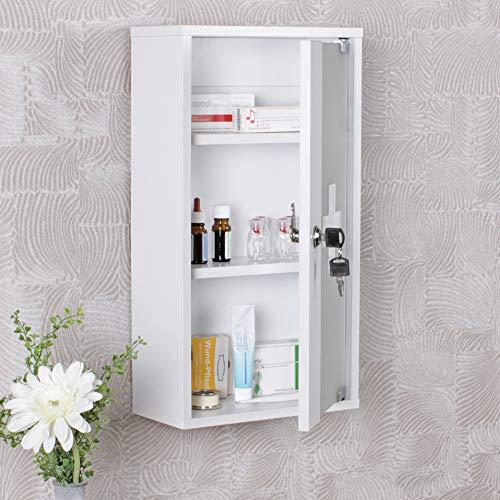 KS-Furniture Ella - Armadietto per medicinali, in Legno, 26 x 48 x 12 cm, richiudibile con 3 Scomparti, Porta in Vetro, Colore: Bianco