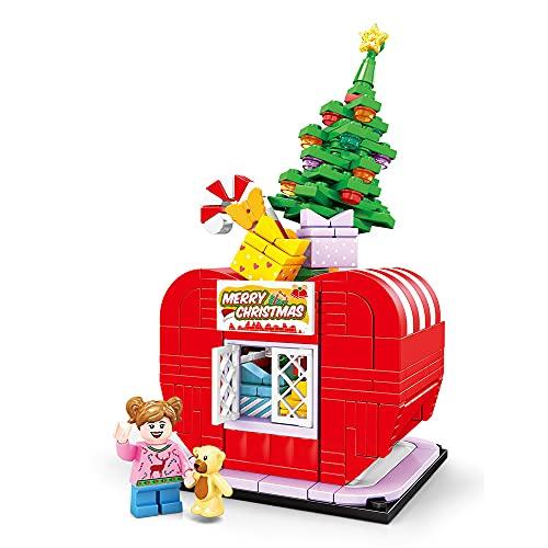 Teanyotink Halloween Building Blocks for Kids Ages 4-8,DIY Halloween Toys Light Building Kit for Kids,Christmas Building Block with Light Pumpkin Store Street Scene Series Model Toys Gift