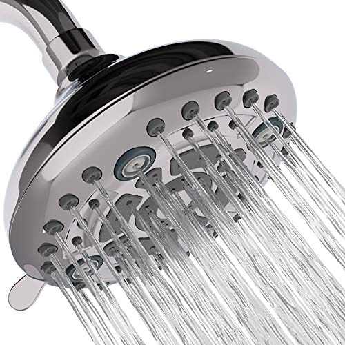 Aqua Earth Fixed High Pressure Shower Head with Adjustable Angles for Low Flow Water, 6 Spray Settings, 5 inch Anti-Clog Chrome Showerhead for Water Saving, Easy Tool Free Installation in Bathroom