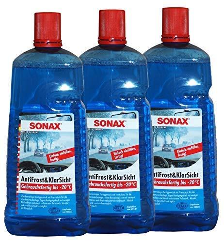 Preisjubel 3 x SONAX AntiFrost&KlarSicht 2l, Frostschutz, Scheiben-Enteiser, Glas-Reiniger