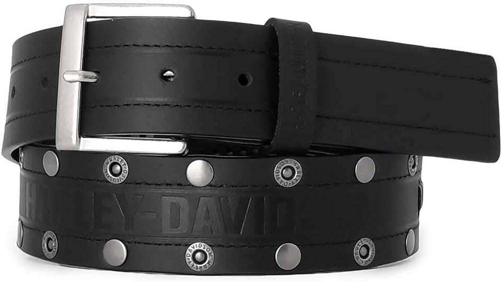 Harley-Davidson Men's Disturbance Studded Leather Belt w/Antique Nickel Finish