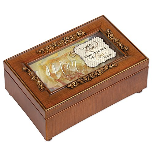 Cottage Garden Mom You are Loved Woodgrain Embossed Jewelry Music Box Plays Wind Beneath My Wings