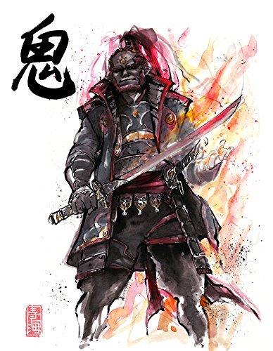 8x10 PRINT of Samurai Ganondorf Japanese Calligraphy DEVIL DEMON