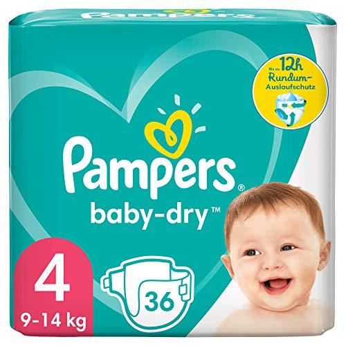Pampers Baby-Dry Größe 4, 36 Windeln, bis zu 12Stunden Rundumschutz, 9-14kg