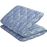 京都 西川 敷布団 シングル ピーチスキン加工 合繊三層構造 清潔 しっかりタイプ 3つ折り コンパクト ブルー 11460752