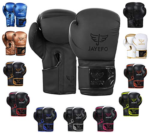 Jayefo Glorious Boxing Gloves Muay Thai Kick Boxing Leather Sparring Heavy Bag Workout MMA UFC Pro Leather Gloves Mitts Work for Men & Women (PRO Black, 16 OZ)