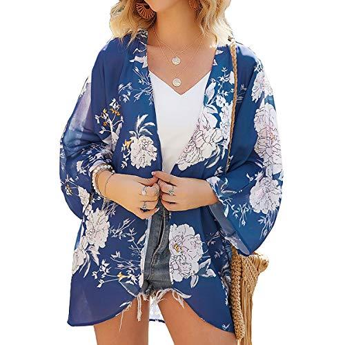 ECOMBOS Damen Florale Kimono Cardigan - Chiffon Tops Cardigan Bluse Shawl Sommer Beachwear Cover up Leichte Boho Strand Jacke (Blau, S)