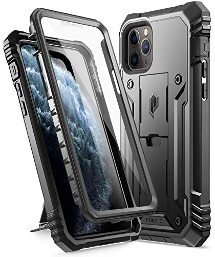 iPhone 11 Pro Rugged Case with Kickstand, Poetic Full-Body Dual-Layer Shockproof Protective Cover, Built-in-Screen Protector, Revolution Series, for Apple iPhone 11 Pro (2019) 5.8 Inch, Black